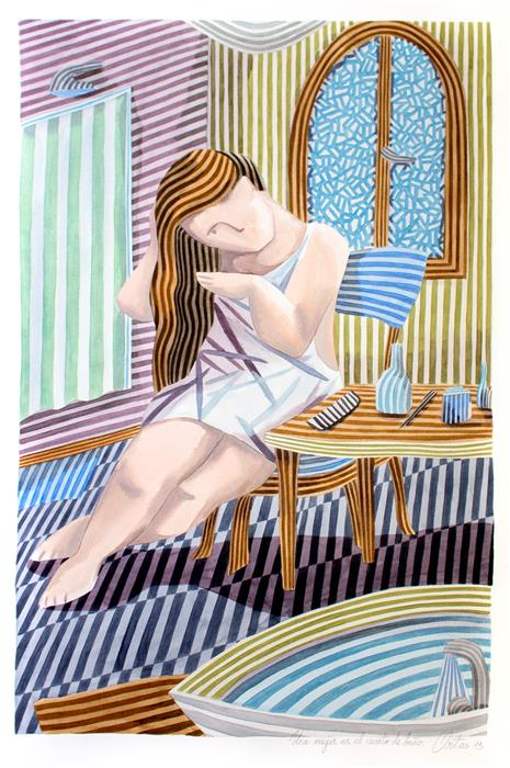 Original art for sale at UGallery.com | A Woman in the Bathroom by Javier Ortas | $3,050 | watercolor painting | 39.37' h x 27.55' w | ..\art\watercolor-painting-A-Woman-in-the-Bathroom