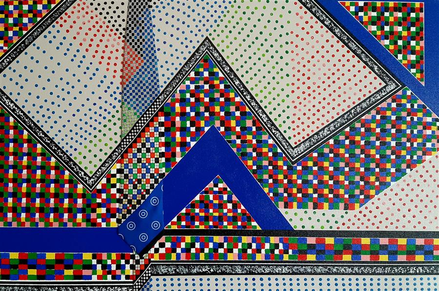 Original art for sale at UGallery.com | Mosaic Mirage by Gregory Brown | $1,600 | mixed media artwork | 24' h x 36' w | ..\art\mixed-media-artwork-Mosaic-Mirage