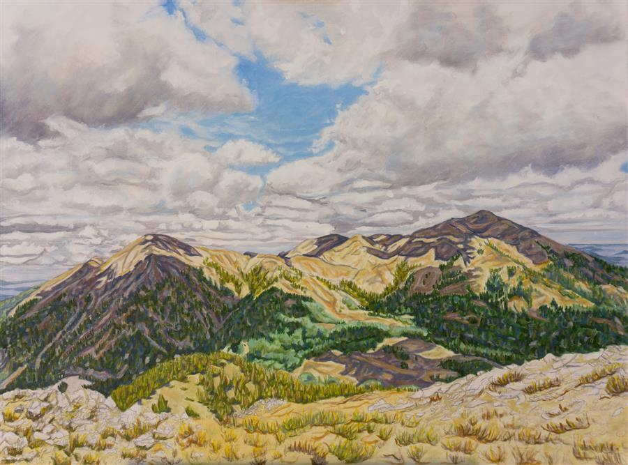 Original art for sale at UGallery.com | Mountain Majesty by Crystal DiPietro | $4,175 | oil painting | 30' h x 40' w | ..\art\oil-painting-Mountain-Majesty
