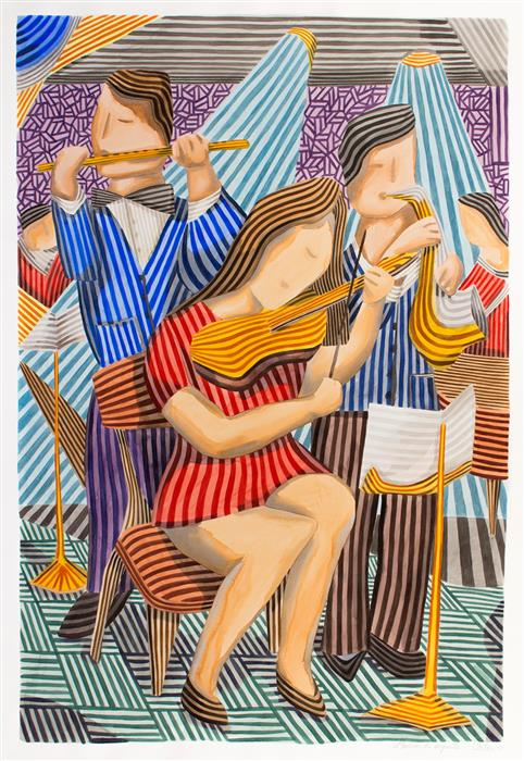 Original art for sale at UGallery.com | Orchestral Musicians by Javier Ortas | $4,250 | watercolor painting | 55.11' h x 38.58' w | ..\art\watercolor-painting-Orchestral-Musicians