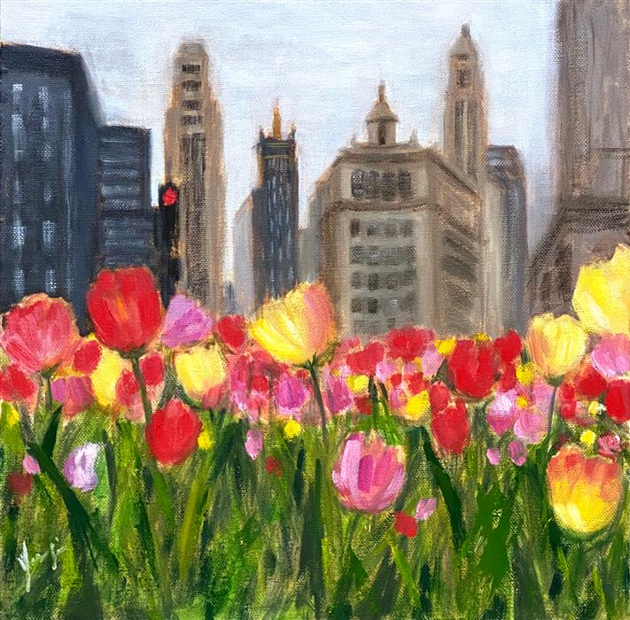Original art for sale at UGallery.com | Chicago in Bloom by Yangzi Xu | $375 | oil painting | 12' h x 12' w | ..\art\oil-painting-Chicago-in-Bloom
