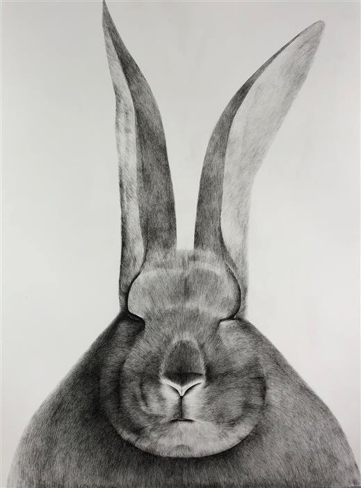 Original art for sale at UGallery.com | Friends for a Sobering Time 01 Bunny by Ziui Vance | $1,350 | ink artwork | 24' h x 18' w | ..\art\ink-artwork-Friends-for-a-Sobering-Time-01-Bunny