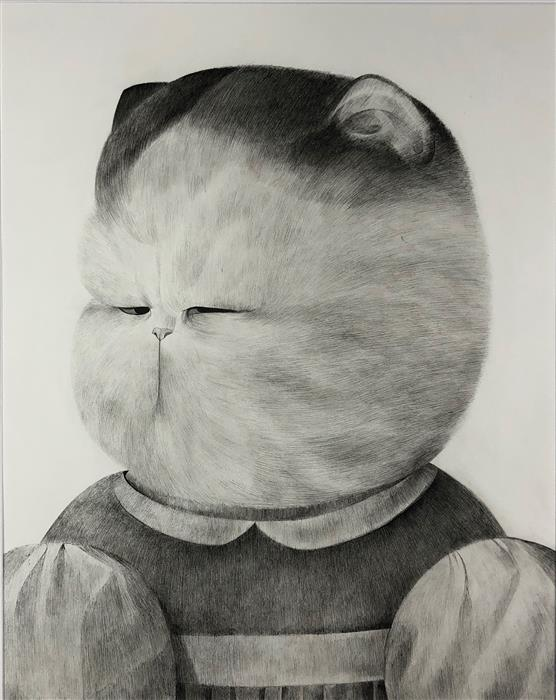 Original art for sale at UGallery.com | Friends for a Sobering Time 04 Cat by Ziui Vance | $1,350 | ink artwork | 24' h x 18' w | ..\art\ink-artwork-Friends-for-a-Sobering-Time-04-Cat