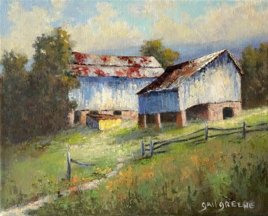 Original art for sale at UGallery.com | Blue Barns by Gail Greene | $300 | oil painting | 8' h x 10' w | ..\art\oil-painting-Blue-Barns