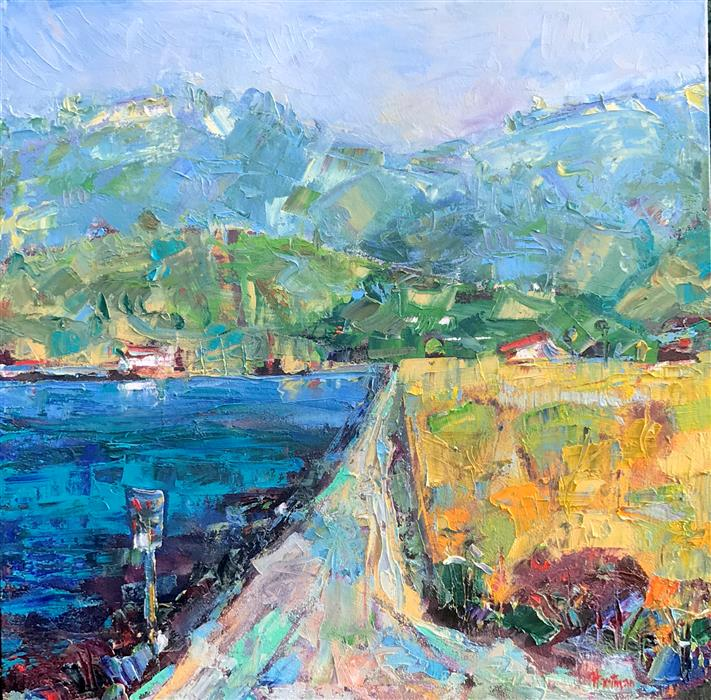 Original art for sale at UGallery.com | Berkeley Marina Path towards the Hills by James Hartman | $1,150 | oil painting | 22.5' h x 22.5' w | ..\art\oil-painting-Berkeley-Marina-Path-towards-the-Hills