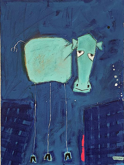 Original art for sale at UGallery.com | City Cow by Rick Hamilton | $375 | acrylic painting | 16' h x 12' w | ..\art\acrylic-painting-City-Cow