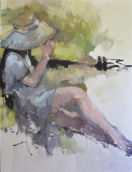 Original art for sale at UGallery.com | Summer Bonnet by Mary Pratt | $1,800 | oil painting | 40' h x 30' w | ..\art\oil-painting-Summer-Bonnet