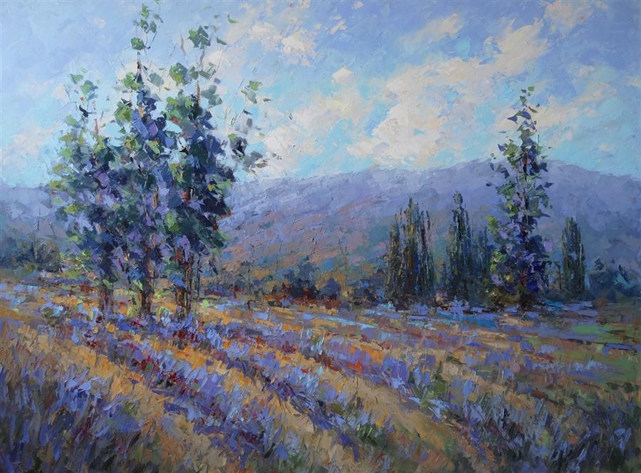 Original art for sale at UGallery.com | Country Lavender by Tricia May | $4,100 | oil painting | 36' h x 48' w | ..\art\oil-painting-Country-Lavender
