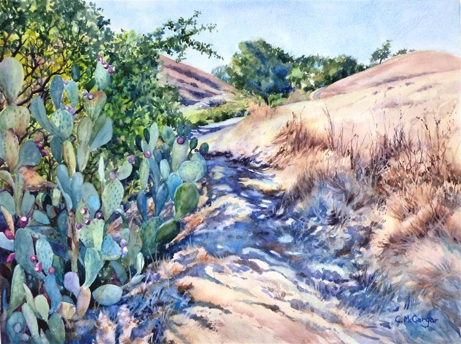 Original art for sale at UGallery.com | Beavertail Trail Again by Catherine McCargar | $1,500 | watercolor painting | 18' h x 24' w | ..\art\watercolor-painting-Beavertail-Trail-Again