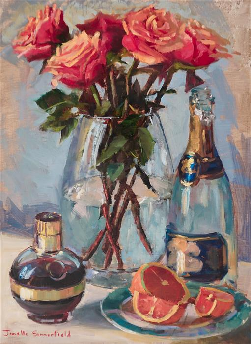 Original art for sale at UGallery.com | Roses and Mimosas with Chambord by Jonelle Summerfield | $675 | oil painting | 16' h x 12' w | ..\art\oil-painting-Roses-and-Mimosas-with-Chambord