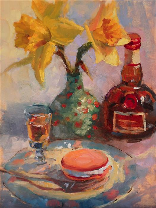 Original art for sale at UGallery.com | Daffodils with Macaron and Grand Marnier by Jonelle Summerfield | $325 | oil painting | 8' h x 6' w | ..\art\oil-painting-Daffodils-with-Macaron-and-Grand-Marnier