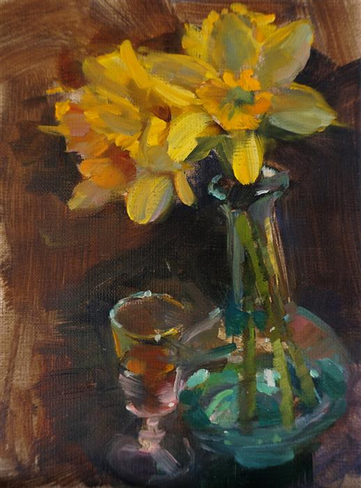 Original art for sale at UGallery.com | Daffodils and Scotch by Jonelle Summerfield | $325 | oil painting | 8' h x 6' w | ..\art\oil-painting-Daffodils-and-Scotch