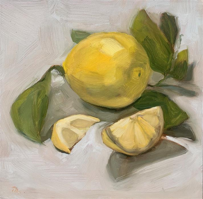 Original art for sale at UGallery.com | Italian Lemons by Malia Pettit | $225 | oil painting | 8' h x 8' w | ..\art\oil-painting-Italian-Lemons