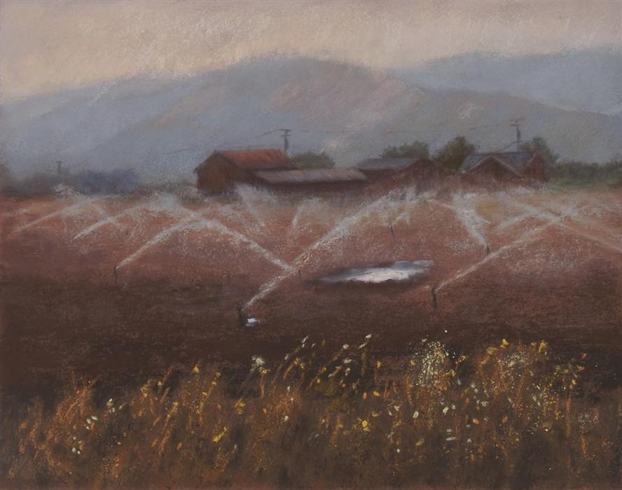 Original art for sale at UGallery.com | Valley Farm by Patricia Prendergast | $275 | pastel artwork | 8' h x 10' w | ..\art\pastel-artwork-Valley-Farm