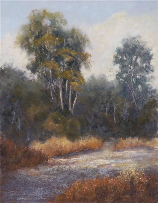 Original art for sale at UGallery.com | The Path through the Eucalyptus by Patricia Prendergast | $475 | pastel artwork | 14' h x 11' w | ..\art\pastel-artwork-The-Path-through-the-Eucalyptus