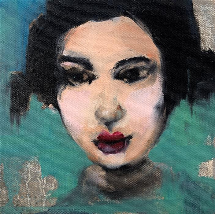 Original art for sale at UGallery.com   Geisha Stare by Malia Pettit   $225   oil painting   8' h x 8' w   ..\art\oil-painting-Geisha-Stare