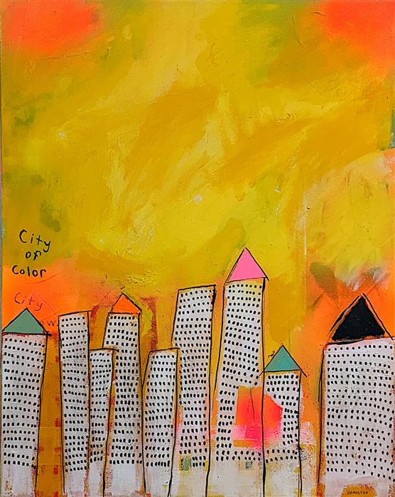 Original art for sale at UGallery.com | City of Color by Rick Hamilton | $575 | acrylic painting | 20' h x 16' w | ..\art\acrylic-painting-City-of-Color