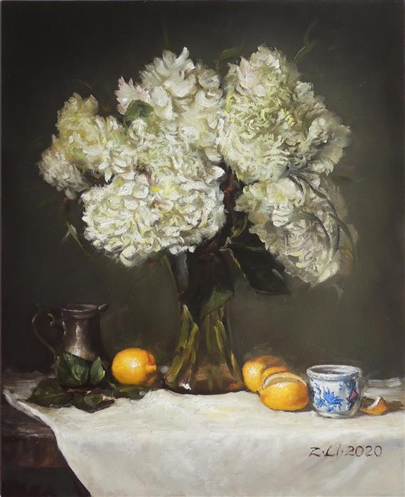 Original art for sale at UGallery.com | White Hydrangeas in Vase with Lemons by Zhi Li | $1,300 | oil painting | 18' h x 14' w | ..\art\oil-painting-White-Hydrangeas-in-Vase-with-Lemons