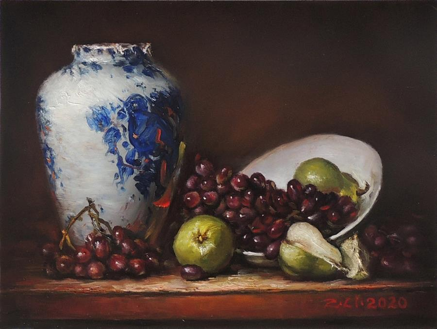 Original art for sale at UGallery.com | Blue White Vase with Pears and Grapes by Zhi Li | $725 | oil painting | 9' h x 12' w | ..\art\oil-painting-Blue-White-Vase-with-Pears-and-Grapes