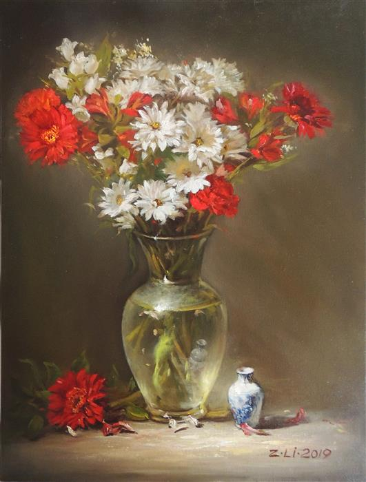Original art for sale at UGallery.com | Blooming Flowers in Glass by Zhi Li | $1,700 | oil painting | 24' h x 18' w | ..\art\oil-painting-Blooming-Flowers-in-Glass