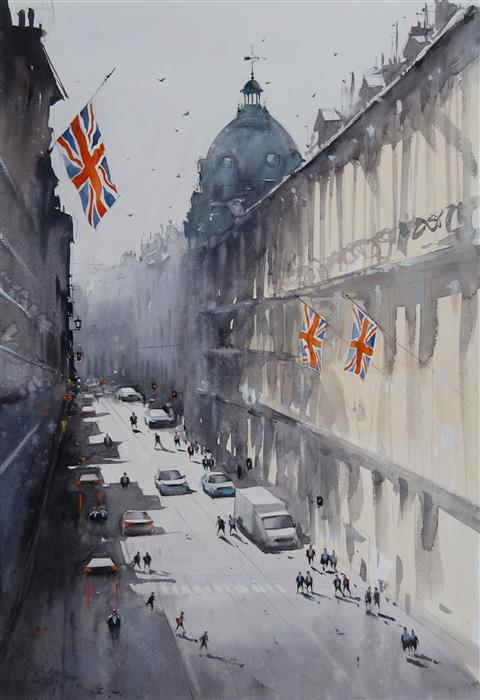 Original art for sale at UGallery.com | A Sunny Day in Oxford Circus by Swarup Dandapat | $750 | watercolor painting | 22' h x 15' w | ..\art\watercolor-painting-A-Sunny-Day-in-Oxford-Circus