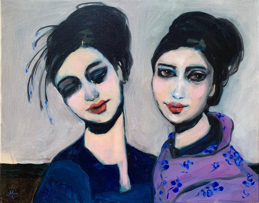 Original art for sale at UGallery.com | Mauveine Geisha Sisters by Malia Pettit | $750 | oil painting | 16' h x 20' w | ..\art\oil-painting-Mauveine-Geisha-Sisters