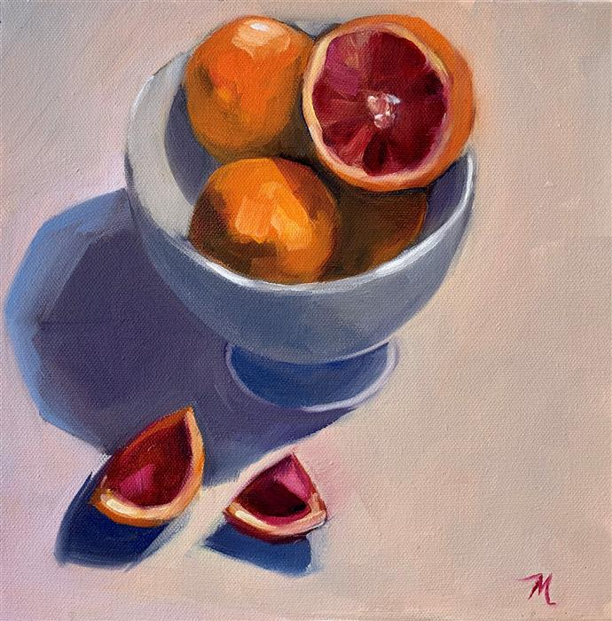 Original art for sale at UGallery.com | Bowl of Blood Oranges by Malia Pettit | $275 | oil painting | 10' h x 10' w | ..\art\oil-painting-Bowl-of-Blood-Oranges