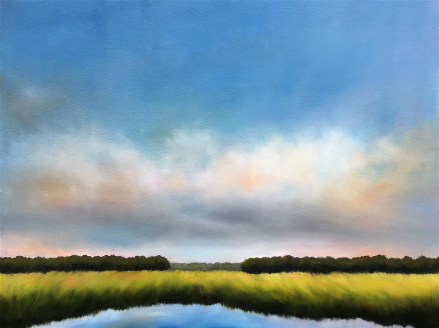 Original art for sale at UGallery.com | Morning on the Marsh II by Nancy Hughes Miller | $2,175 | oil painting | 30' h x 40' w | ..\art\oil-painting-Morning-on-the-Marsh-II