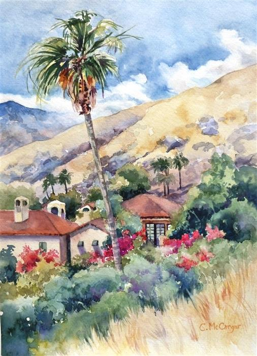 Original art for sale at UGallery.com | Palm Springs Palm by Catherine McCargar | $575 | watercolor painting | 15' h x 11' w | ..\art\watercolor-painting-Palm-Springs-Palm