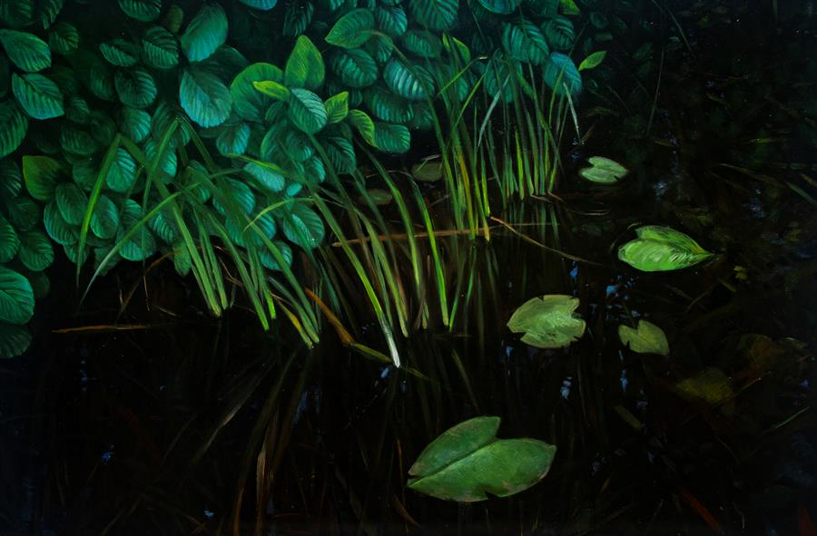 Original art for sale at UGallery.com | Pond in Turtul by Agnieszka Potrzebnicka | $900 | oil painting | 15.7' h x 23.7' w | ..\art\oil-painting-Pond-in-Turtul