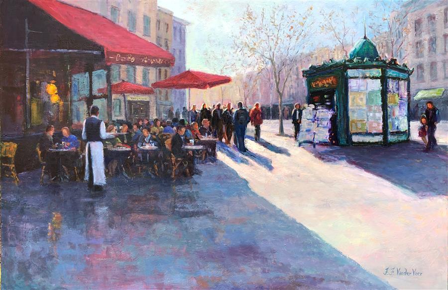 Original art for sale at UGallery.com | Memories of Paris by Faye Vander Veer | $3,700 | oil painting | 24' h x 36' w | ..\art\oil-painting-Memories-of-Paris