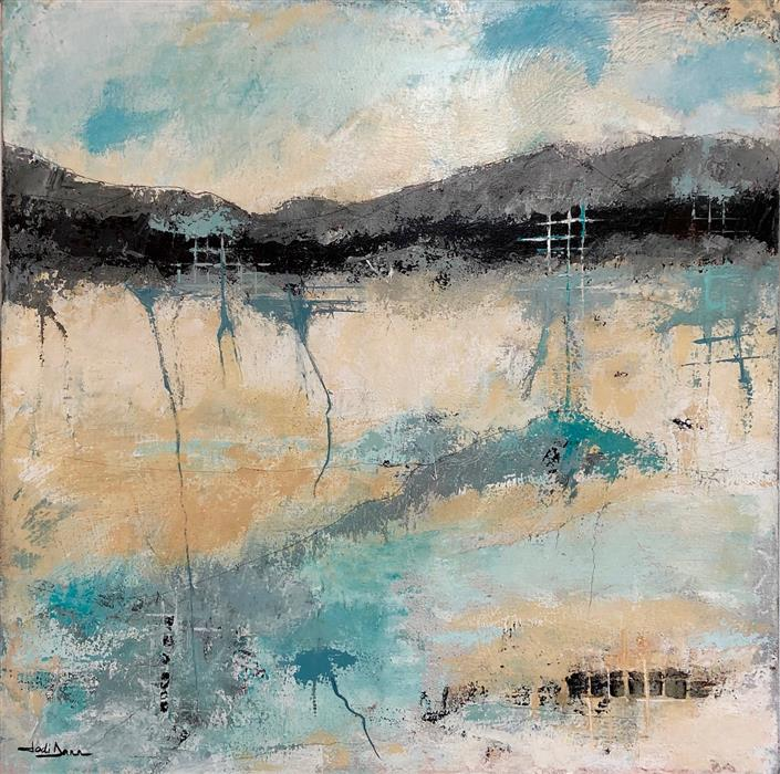 Original art for sale at UGallery.com | Beneath the Surface by Jodi  Dann | $850 | mixed media artwork | 24' h x 24' w | ..\art\mixed-media-artwork-Beneath-the-Surface-68346