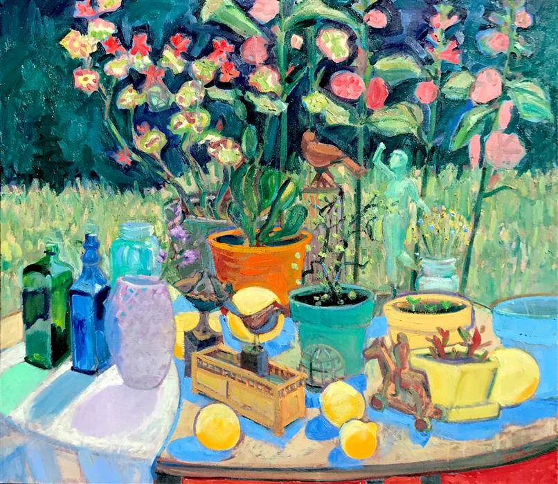 Original art for sale at UGallery.com | Still Life in Garden by James Hartman | $4,650 | oil painting | 42' h x 48' w | ..\art\oil-painting-Still-Life-in-Garden