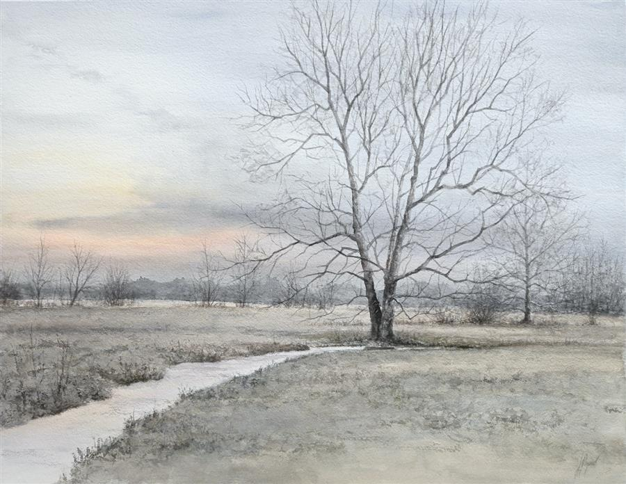Original art for sale at UGallery.com | First Light in the Valley by Jill Poyerd | $2,000 | watercolor painting | 20' h x 26' w | ..\art\watercolor-painting-First-Light-in-the-Valley