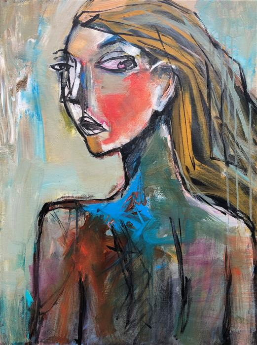 Original art for sale at UGallery.com | Turned Head by Allen Wittert | $2,700 | acrylic painting | 31.5' h x 23.5' w | ..\art\acrylic-painting-Turned-Head