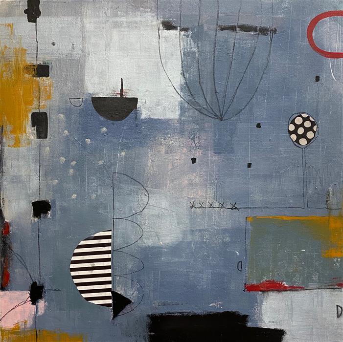 Original art for sale at UGallery.com | Under My Umbrella by Shellie Garber | $750 | mixed media artwork | 24' h x 24' w | ..\art\mixed-media-artwork-Under-My-Umbrella