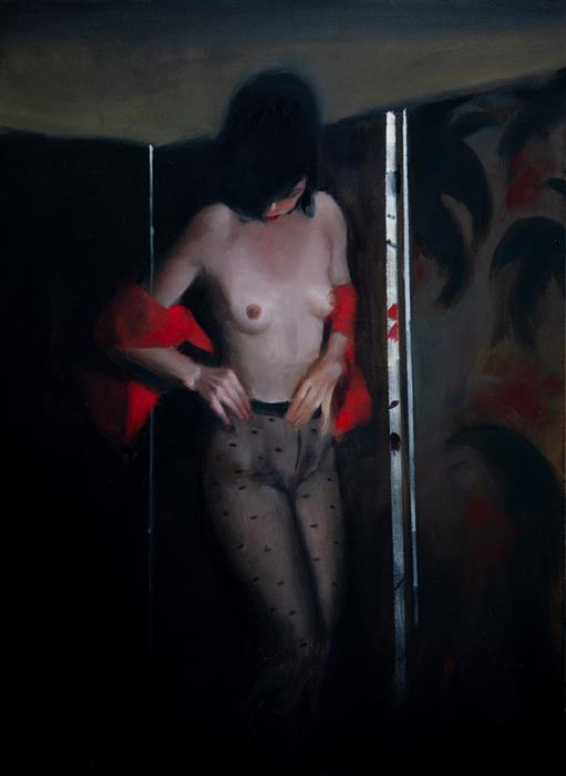 Original art for sale at UGallery.com | Nude with Red Cloak by John Kelly | $2,450 | oil painting | 25.75' h x 20.75' w | ..\art\oil-painting-Nude-with-Red-Cloak