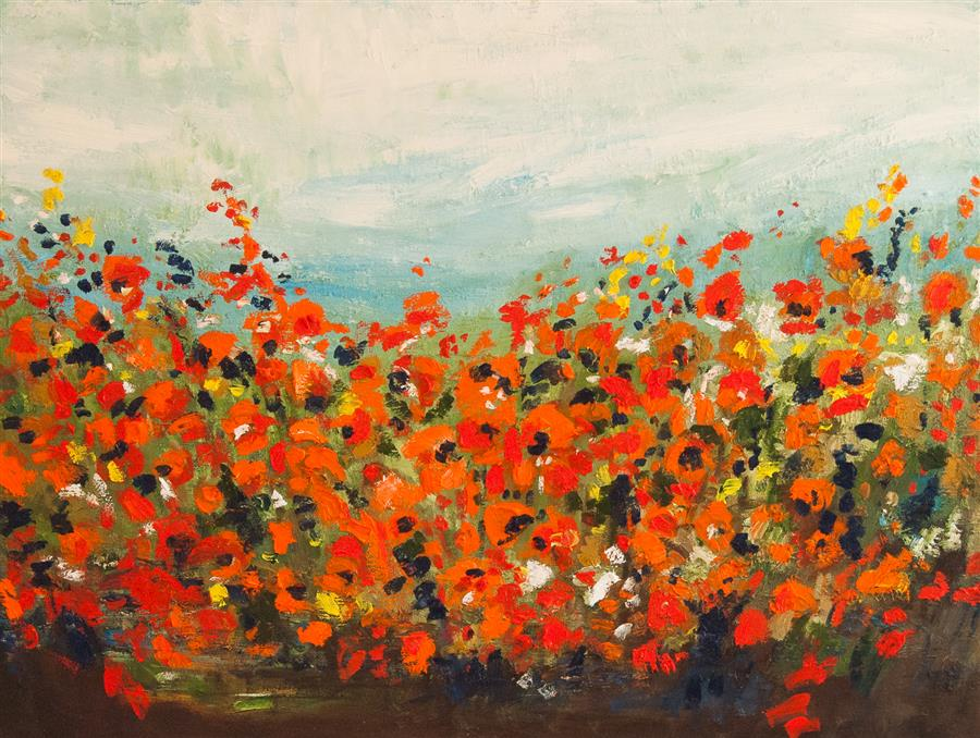 Original art for sale at UGallery.com | Summer Blooms by Kajal Zaveri | $2,500 | oil painting | 30' h x 40' w | ..\art\oil-painting-Summer-Blooms
