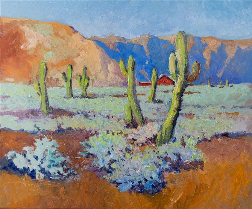 Original art for sale at UGallery.com | Arizona Desert Landscape, Cactuses by Suren Nersisyan | $650 | oil painting | 20' h x 24' w | ..\art\oil-painting-Arizona-Desert-Landscape-Cactuses