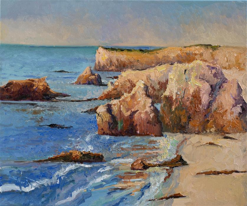 Original art for sale at UGallery.com | Pacific Ocean, Rocks by Suren Nersisyan | $850 | oil painting | 20' h x 24' w | ..\art\oil-painting-Pacific-Ocean-Rocks