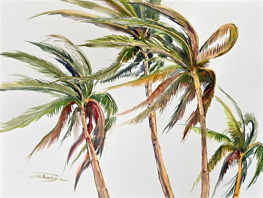 Original art for sale at UGallery.com | Wind, Coconut Palms (Composition 1) by Suren Nersisyan | $400 | watercolor painting | 18' h x 24' w | ..\art\watercolor-painting-Wind-Coconut-Palms-Composition-1
