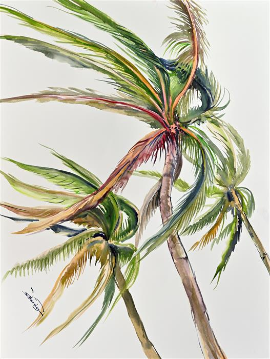 Original art for sale at UGallery.com | Wind, Coconut Palm Trees (Vertical Composition 1) by Suren Nersisyan | $400 | watercolor painting | 24' h x 18' w | ..\art\watercolor-painting-Wind-Coconut-Palm-Trees-Vertical-Composition-1