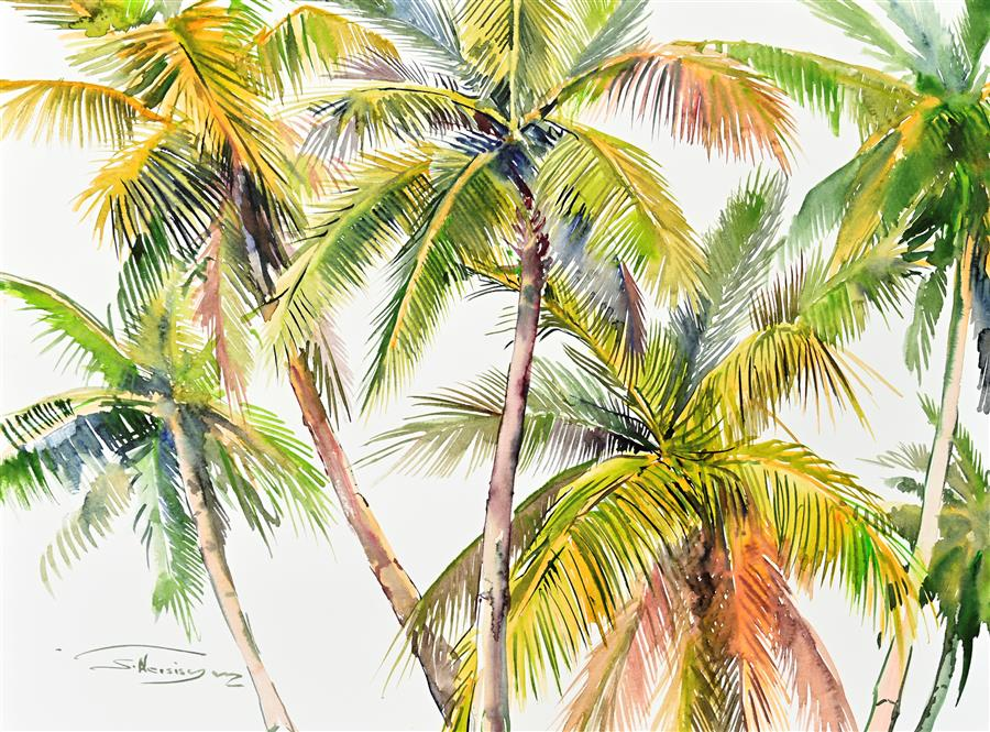 Original art for sale at UGallery.com | Coconut Palm Trees (Composition 1) by Suren Nersisyan | $400 | watercolor painting | 18' h x 24' w | ..\art\watercolor-painting-Coconut-Palm-Trees-Composition-1
