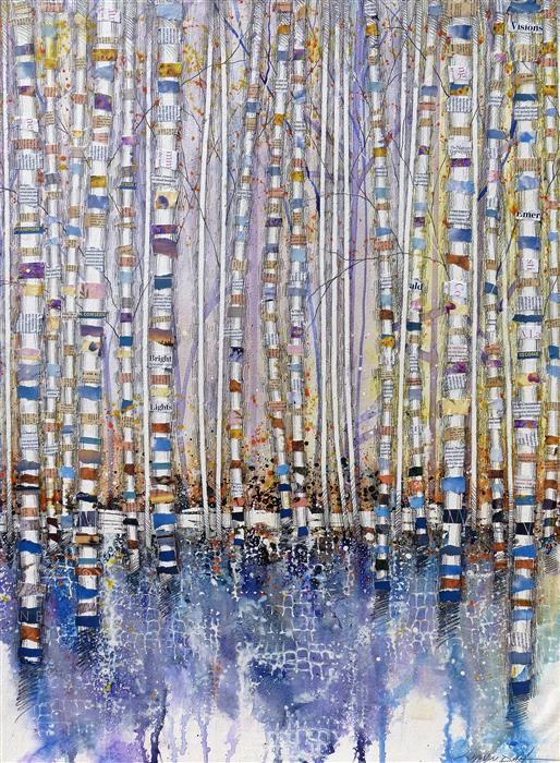 Original art for sale at UGallery.com | Socially Foresting by Linda Klein | $2,175 | mixed media artwork | 40' h x 30' w | ..\art\mixed-media-artwork-Socially-Foresting