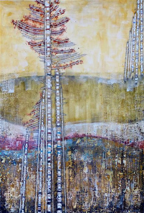 Original art for sale at UGallery.com | Metamorphic Landscape by Linda Klein | $4,800 | mixed media artwork | 60' h x 41' w | ..\art\mixed-media-artwork-Metamorphic-Landscape