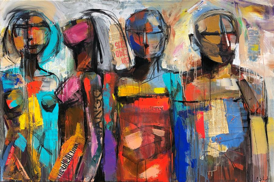 Original art for sale at UGallery.com | Four Standing Figures by Allen Wittert | $4,100 | mixed media artwork | 31.5' h x 47' w | ..\art\mixed-media-artwork-Four-Standing-Figures