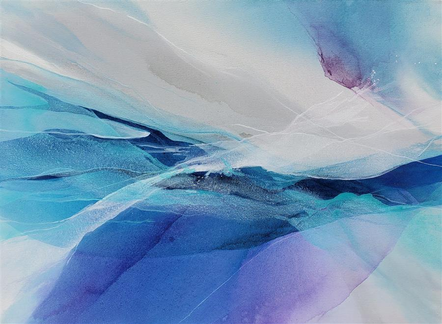 Original art for sale at UGallery.com | Blue Mist by Dorothy Dunn | $1,475 | acrylic painting | 30' h x 40' w | ..\art\acrylic-painting-Blue-Mist