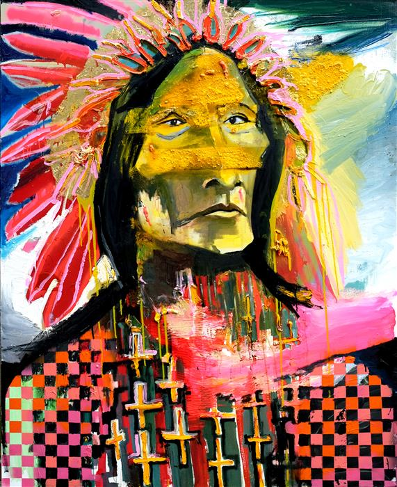 Original art for sale at UGallery.com | Hopeful Modern Chief by Scott Dykema | $7,500 | mixed media artwork | 60' h x 48' w | ..\art\mixed-media-artwork-Hopeful-Modern-Chief