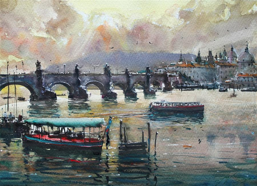 Original art for sale at UGallery.com | Bridge, Boats and Castle by Maximilian Damico | $600 | watercolor painting | 11' h x 15' w | ..\art\watercolor-painting-Bridge-Boats-and-Castle