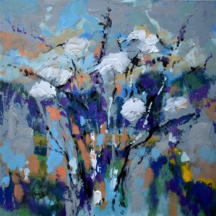Original art for sale at UGallery.com | Cloudy Day Floral by Kip Decker | $2,100 | acrylic painting | 30' h x 30' w | ..\art\acrylic-painting-Cloudy-Day-Floral